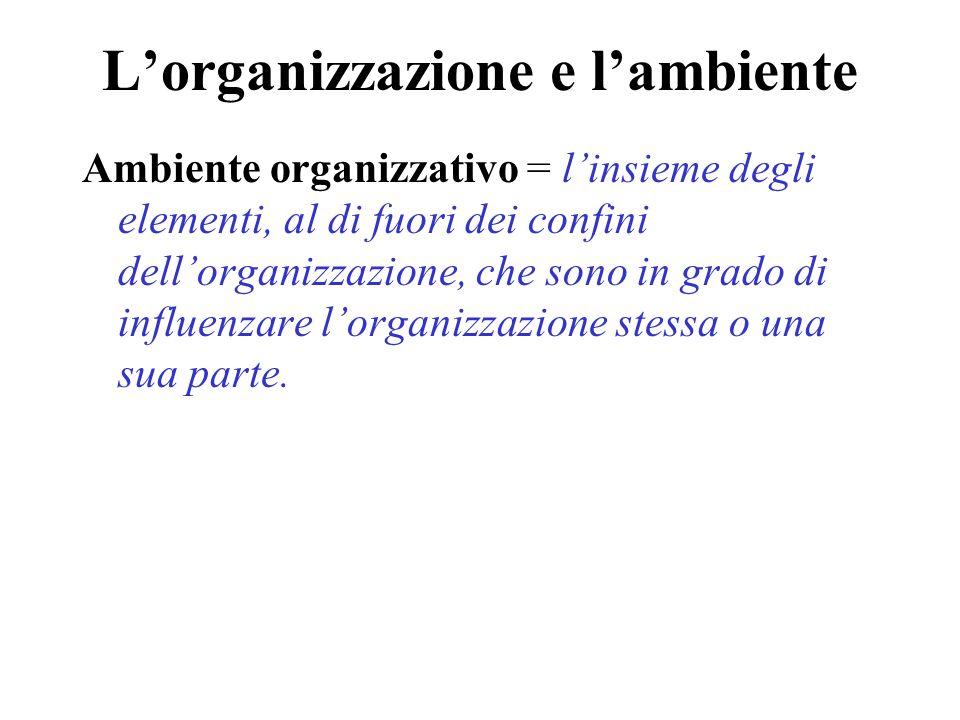 L'organizzazione e l'ambiente