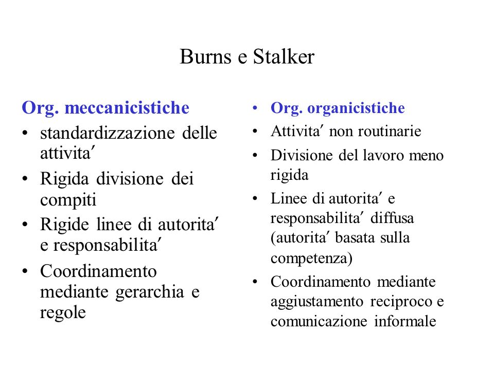 Burns e Stalker Org. meccanicistiche standardizzazione delle attivita'