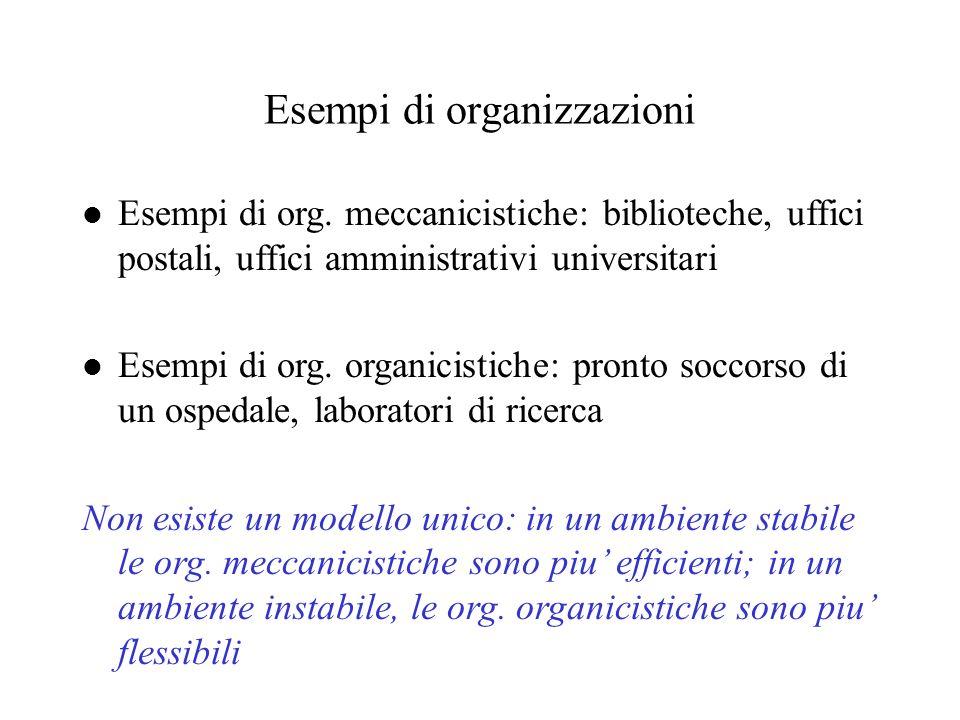Esempi di organizzazioni