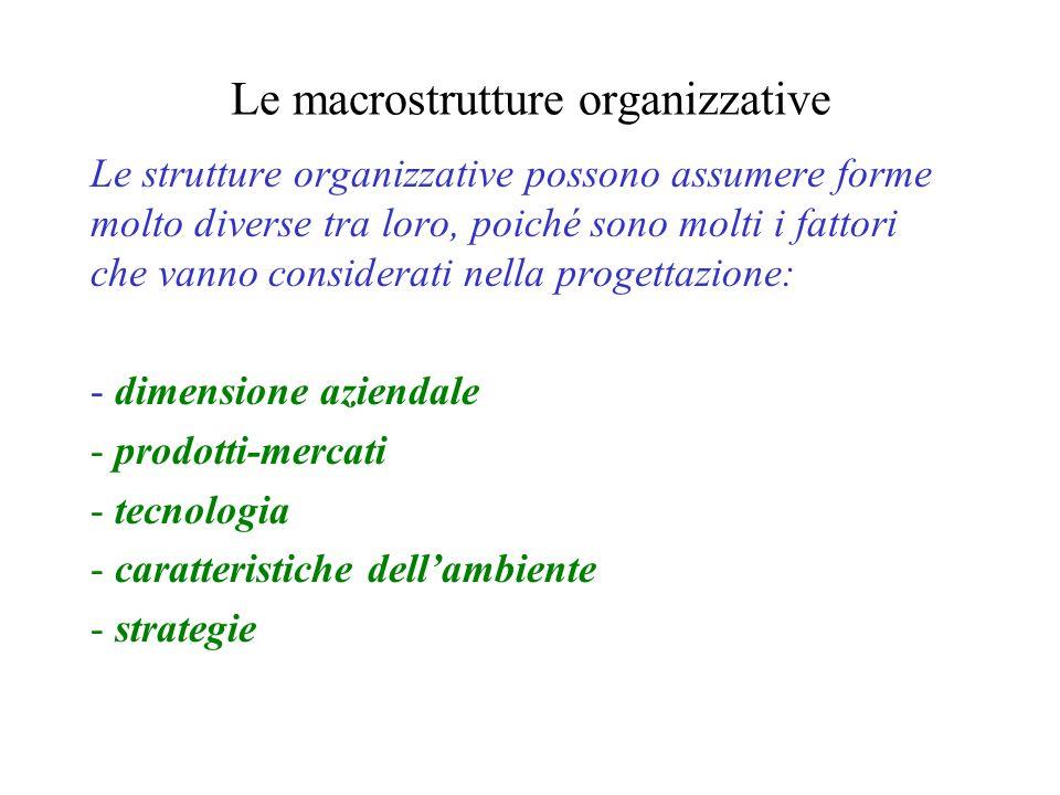 Le macrostrutture organizzative