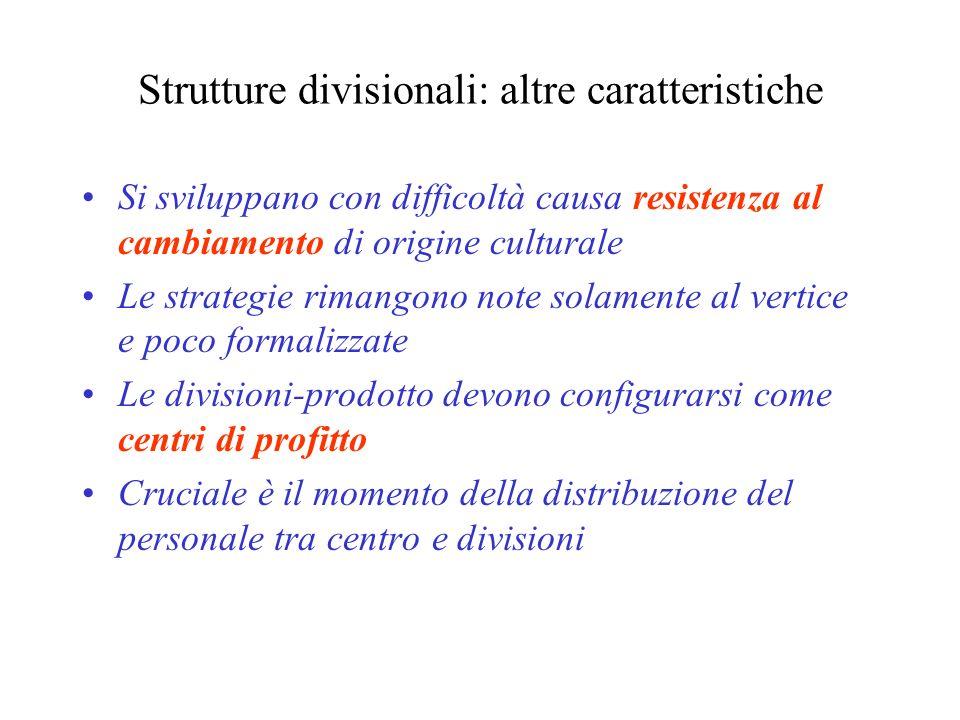 Strutture divisionali: altre caratteristiche