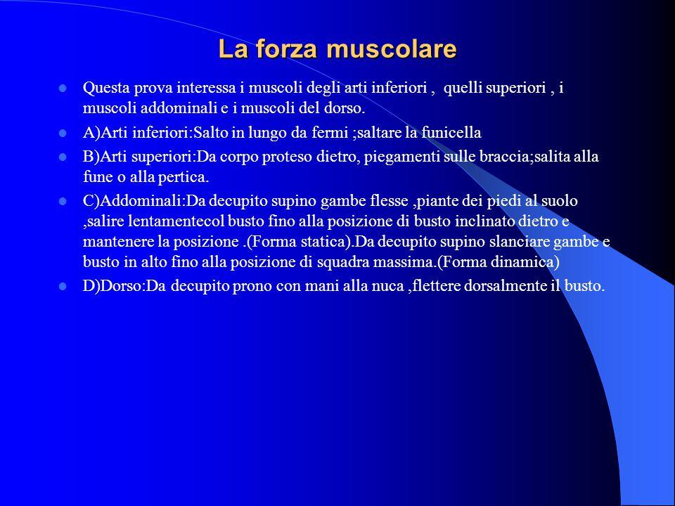 La forza muscolare Questa prova interessa i muscoli degli arti inferiori , quelli superiori , i muscoli addominali e i muscoli del dorso.