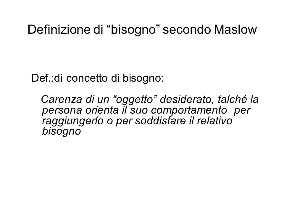 Definizione di bisogno secondo Maslow