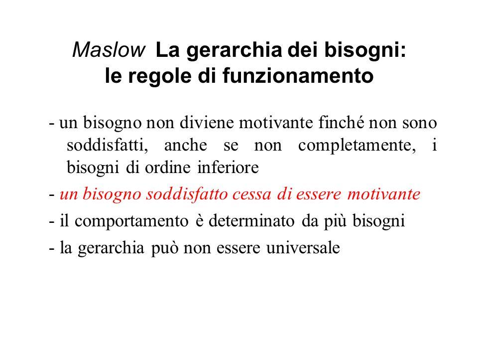Maslow La gerarchia dei bisogni: le regole di funzionamento