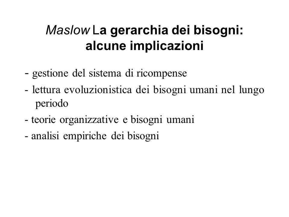 Maslow La gerarchia dei bisogni: alcune implicazioni