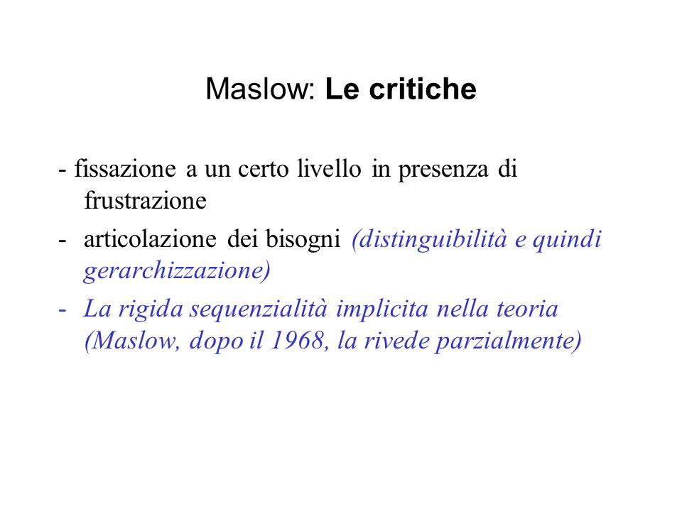 Maslow: Le critiche - fissazione a un certo livello in presenza di frustrazione.