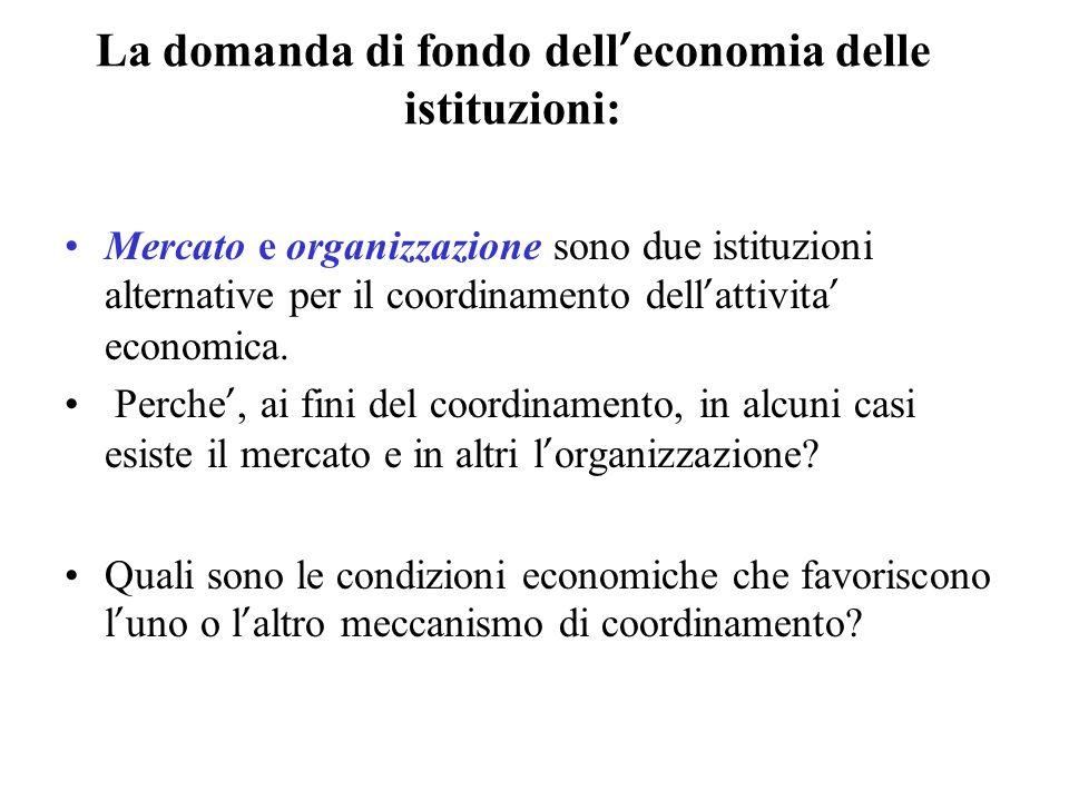 La domanda di fondo dell'economia delle istituzioni: