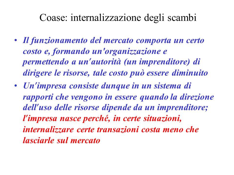 Coase: internalizzazione degli scambi