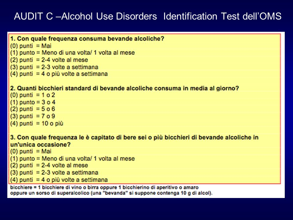 AUDIT C –Alcohol Use Disorders Identification Test dell'OMS
