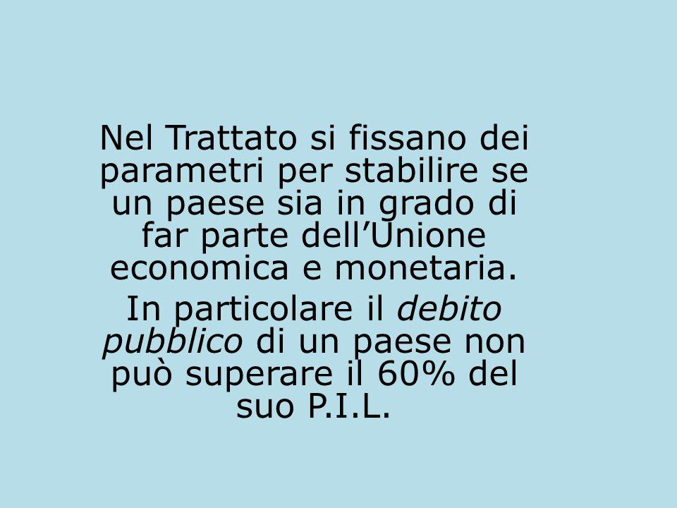 Nel Trattato si fissano dei parametri per stabilire se un paese sia in grado di far parte dell'Unione economica e monetaria.