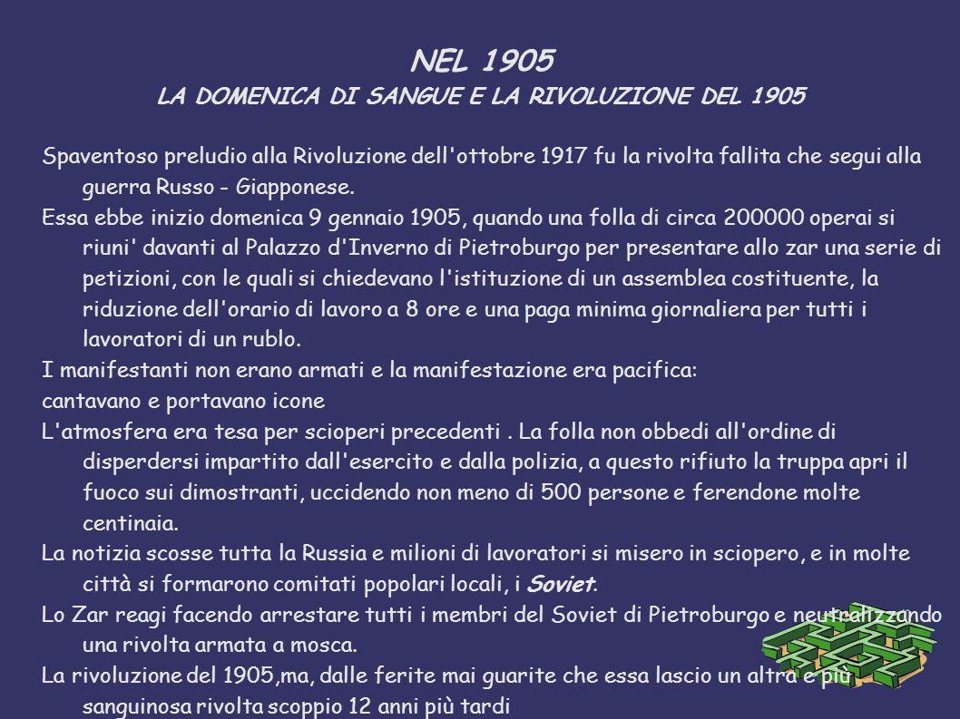 NEL 1905 LA DOMENICA DI SANGUE E LA RIVOLUZIONE DEL 1905