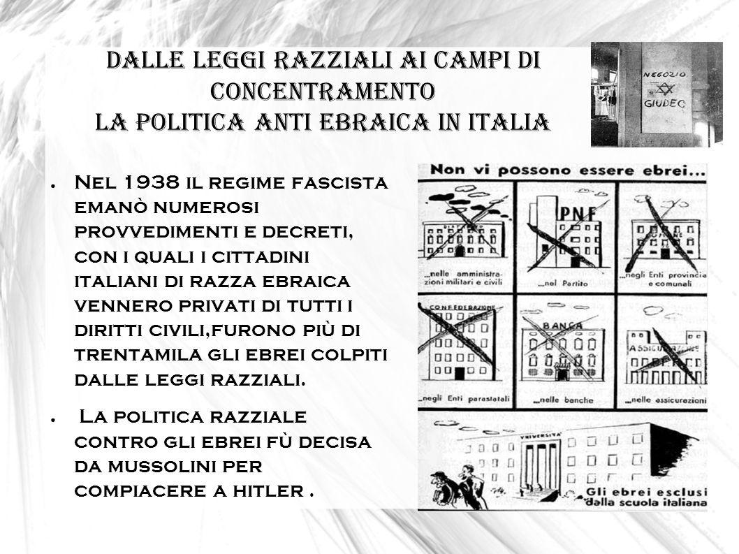DALLE LEGGI RAZZIALI AI CAMPI DI CONCENTRAMENTO la politica anti ebraica in Italia