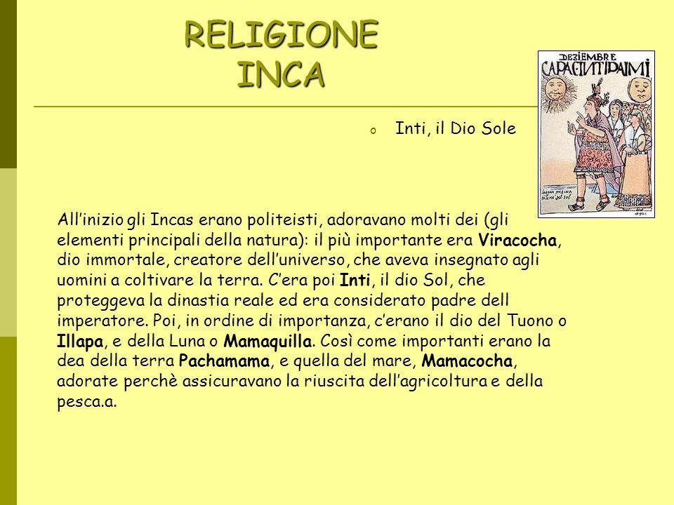 RELIGIONE INCA Inti, il Dio Sole