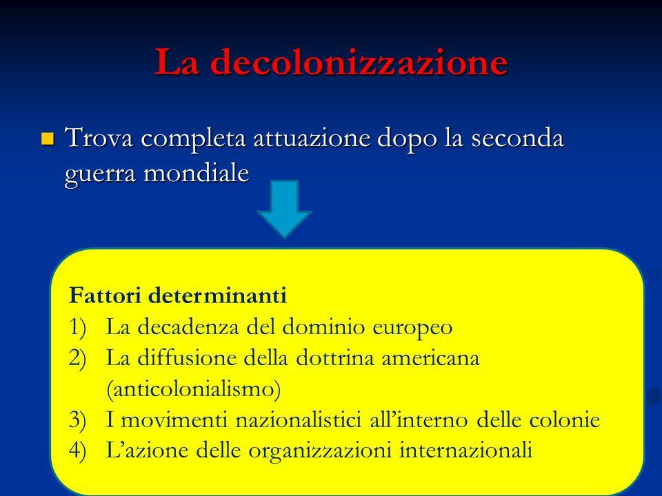 La decolonizzazione Trova completa attuazione dopo la seconda guerra mondiale. Fattori determinanti.