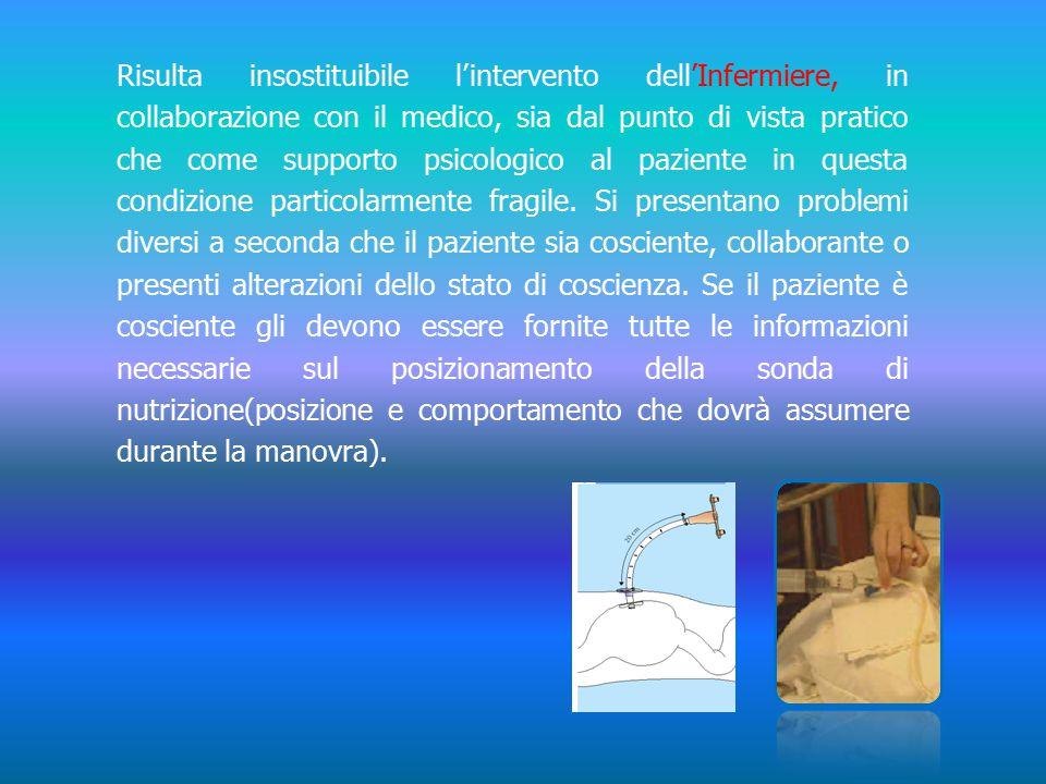 Risulta insostituibile l'intervento dell'Infermiere, in collaborazione con il medico, sia dal punto di vista pratico che come supporto psicologico al paziente in questa condizione particolarmente fragile.