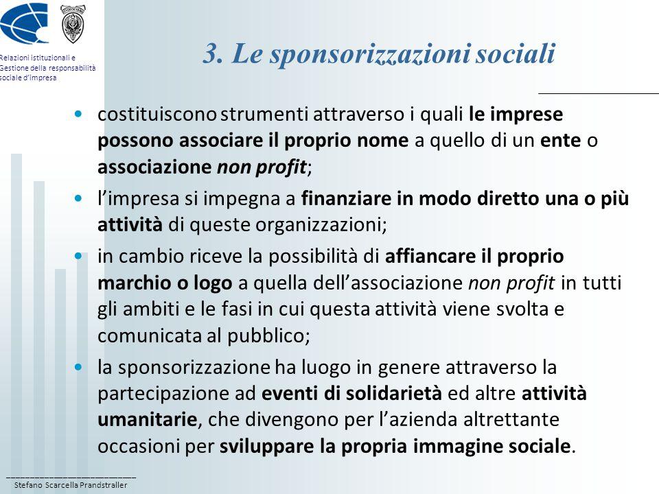 3. Le sponsorizzazioni sociali