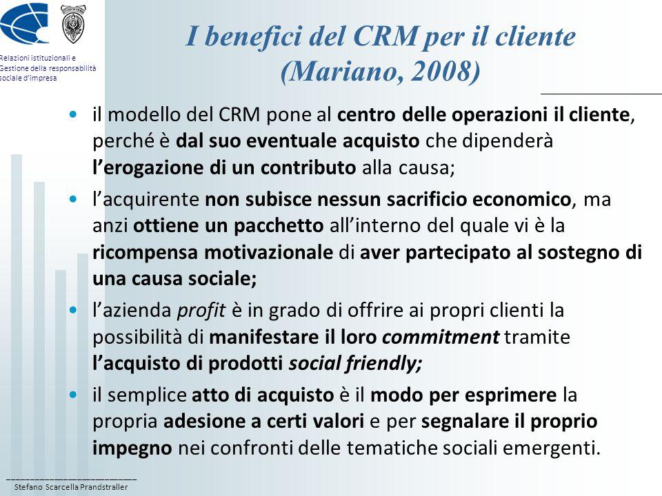 I benefici del CRM per il cliente (Mariano, 2008)