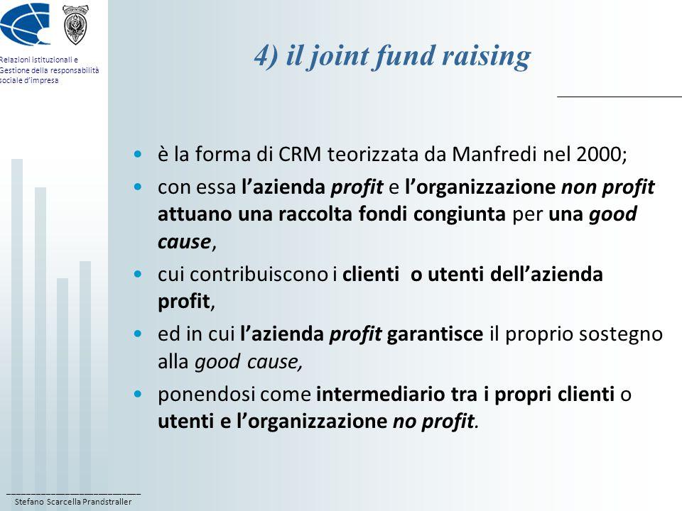 4) il joint fund raising è la forma di CRM teorizzata da Manfredi nel 2000;