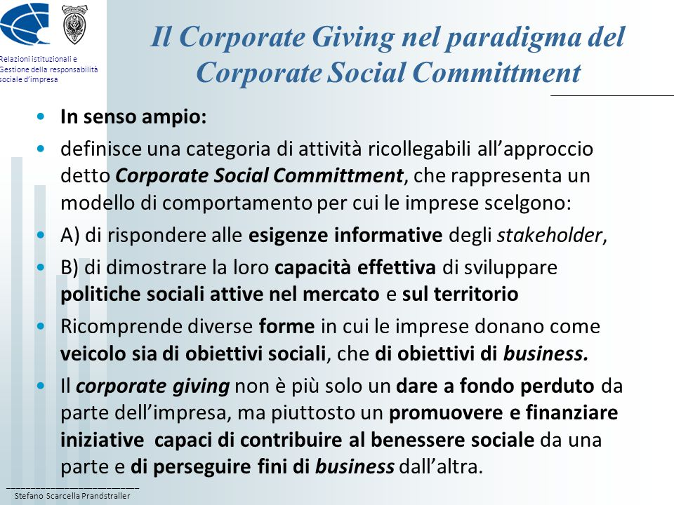 Il Corporate Giving nel paradigma del Corporate Social Committment