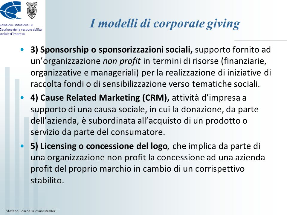 I modelli di corporate giving