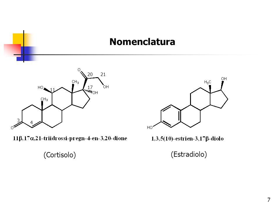Nomenclatura 20 21 17 11 3 4 (Cortisolo) (Estradiolo)