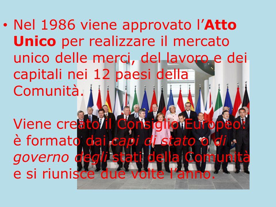 Nel 1986 viene approvato l'Atto Unico per realizzare il mercato unico delle merci, del lavoro e dei capitali nei 12 paesi della Comunità.