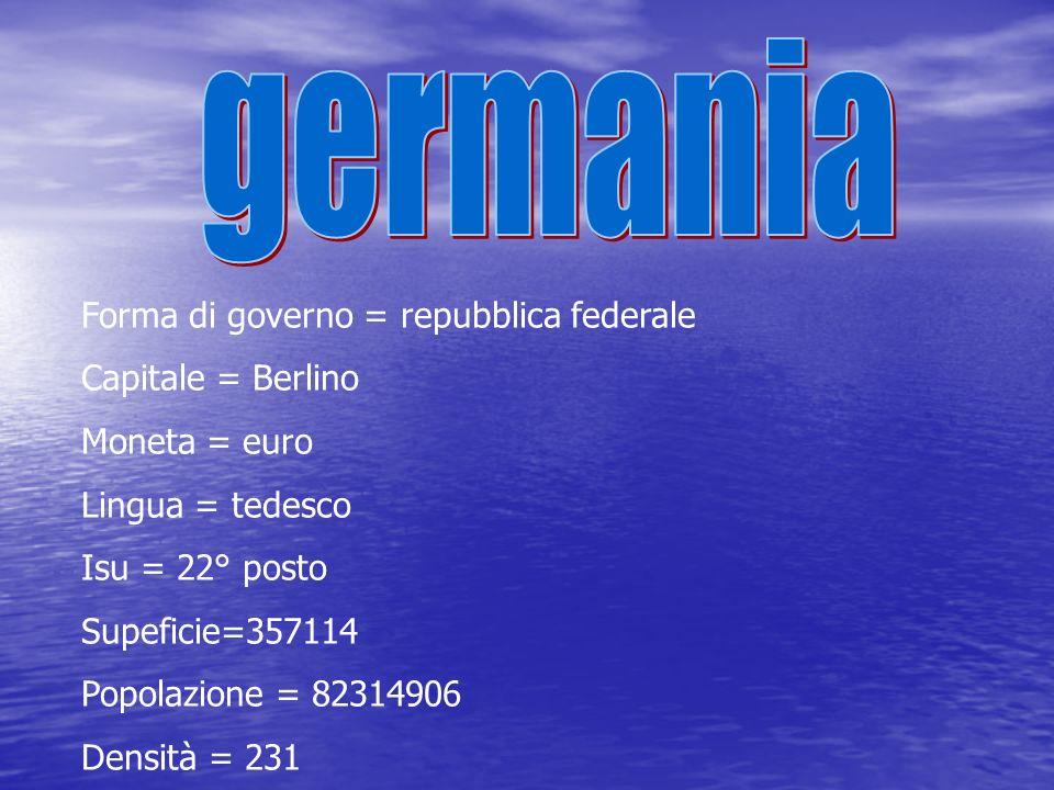 germania Forma di governo = repubblica federale Capitale = Berlino