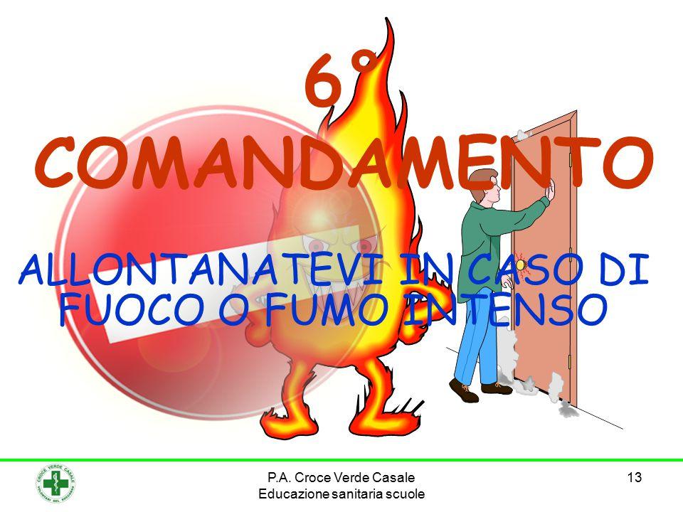 ALLONTANATEVI IN CASO DI FUOCO O FUMO INTENSO