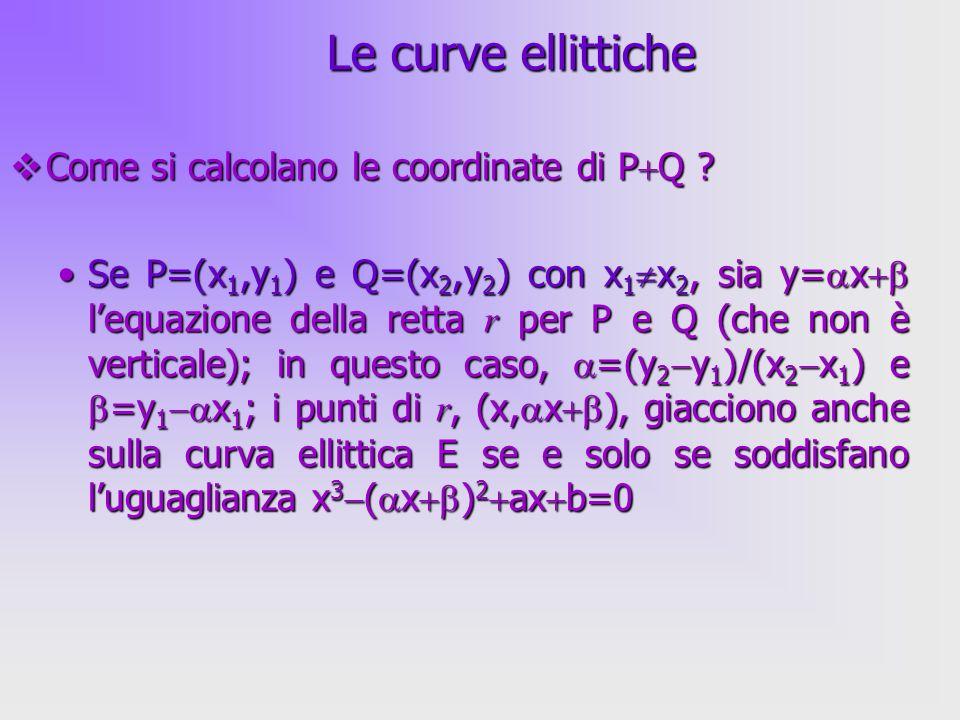 Le curve ellittiche Come si calcolano le coordinate di PQ