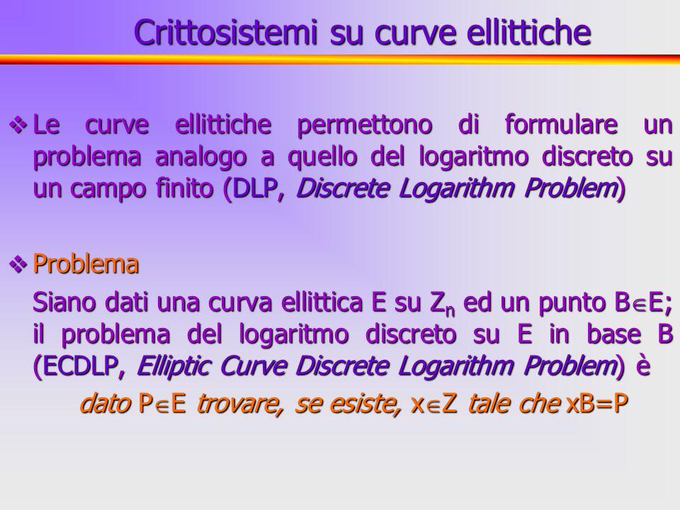 Crittosistemi su curve ellittiche