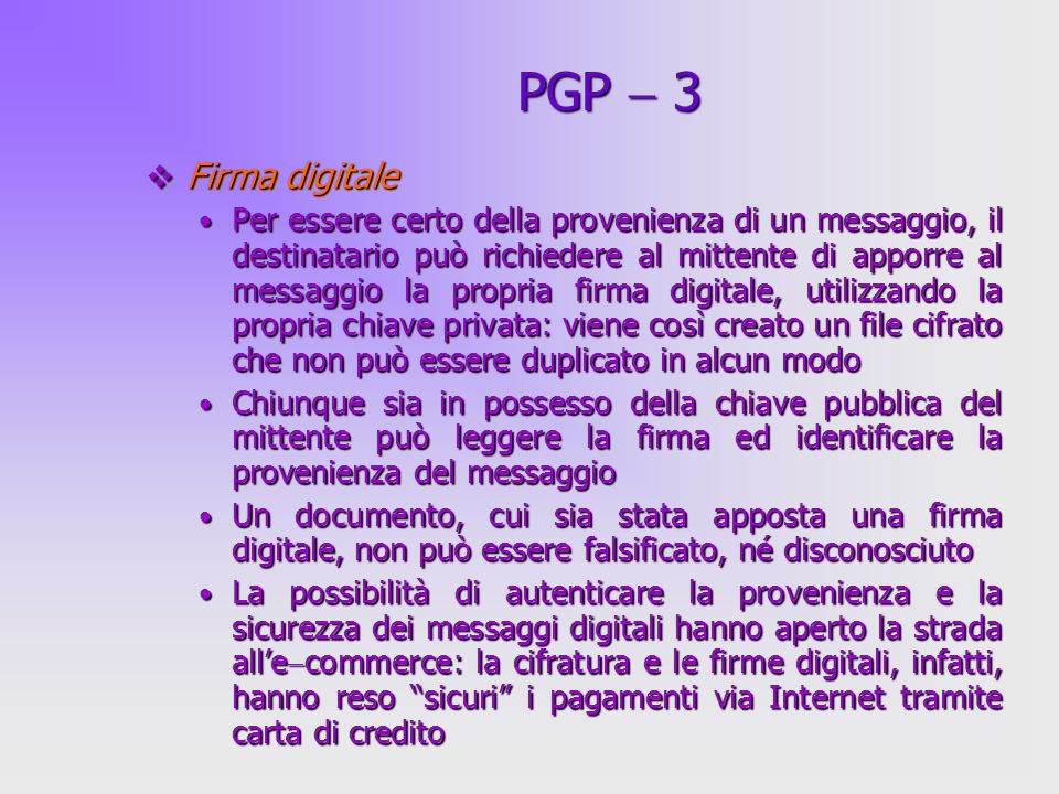 PGP  3 Firma digitale.