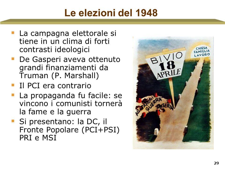 Le elezioni del 1948La campagna elettorale si tiene in un clima di forti contrasti ideologici.
