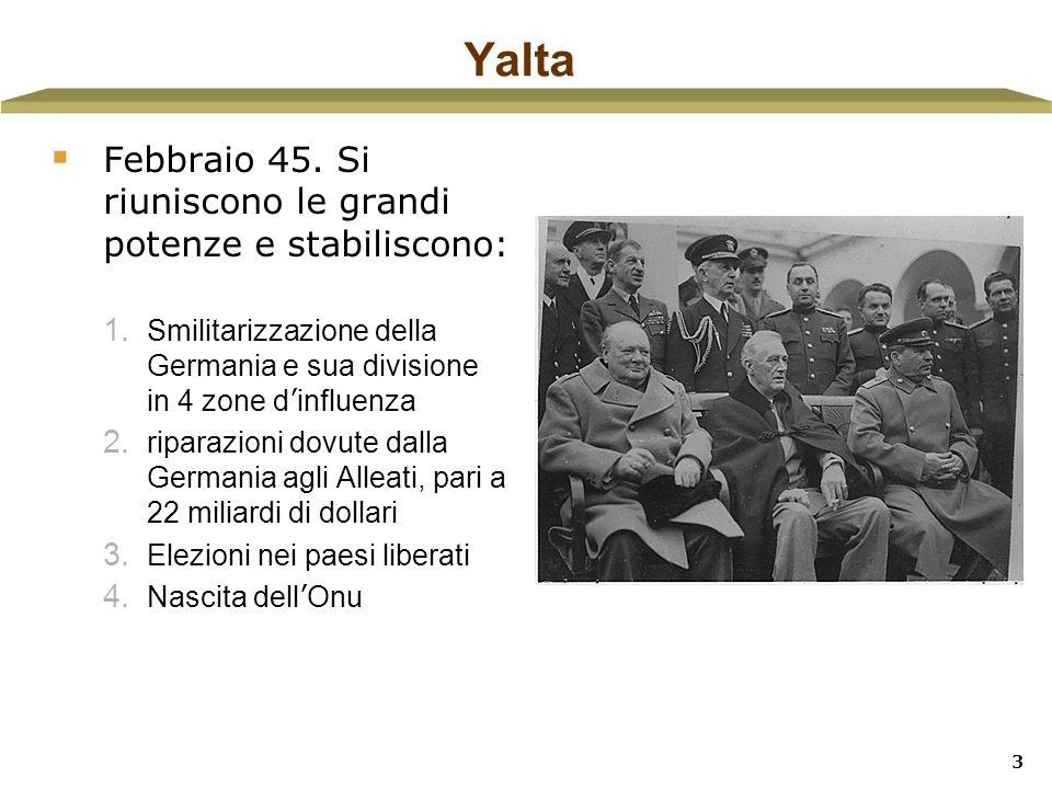 Yalta Febbraio 45. Si riuniscono le grandi potenze e stabiliscono: