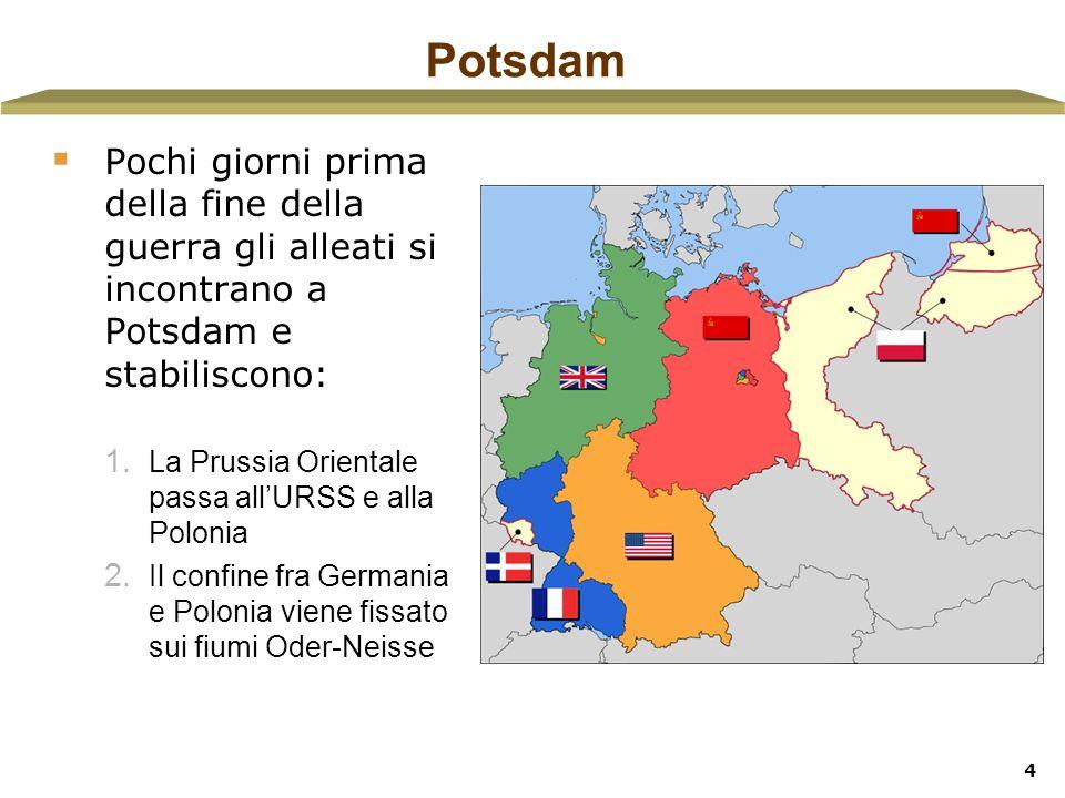 Potsdam Pochi giorni prima della fine della guerra gli alleati si incontrano a Potsdam e stabiliscono: