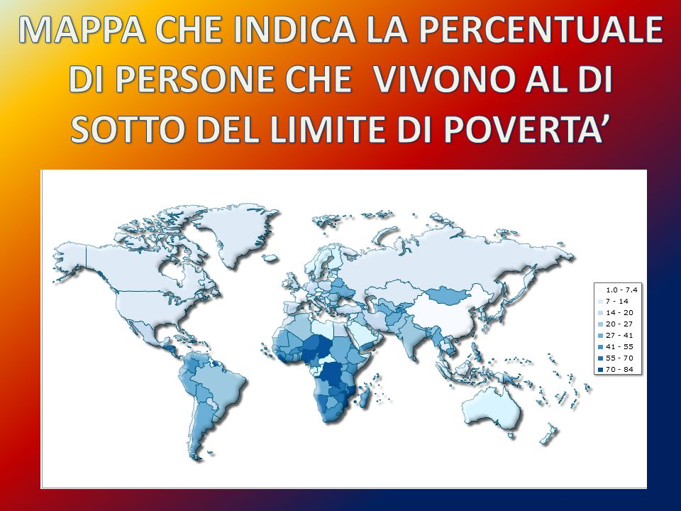 MAPPA CHE INDICA LA PERCENTUALE DI PERSONE CHE VIVONO AL DI SOTTO DEL LIMITE DI POVERTA'