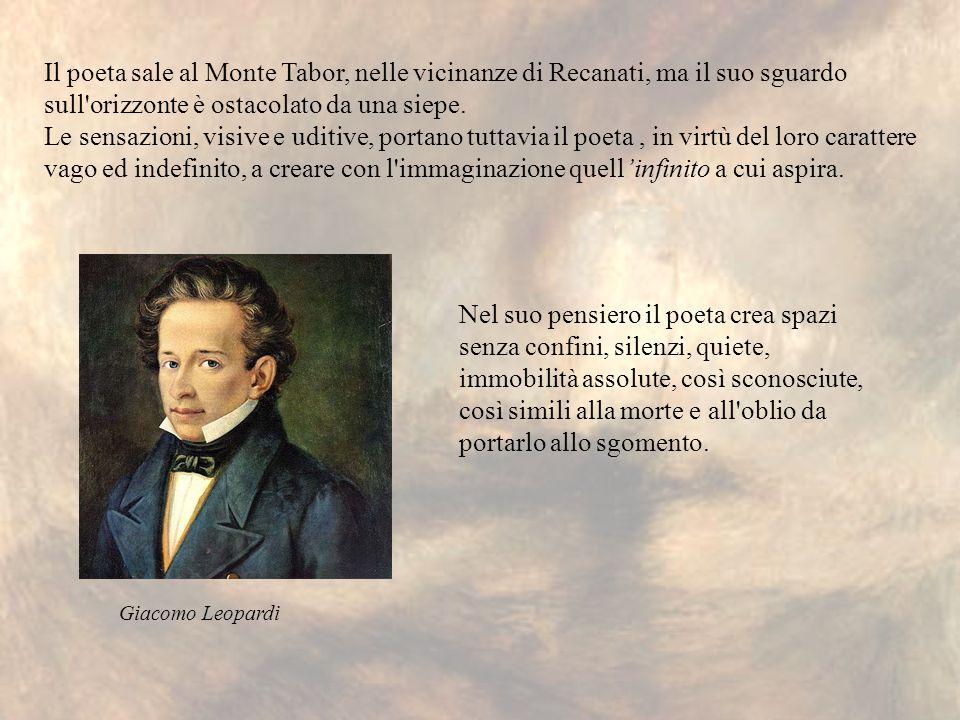Il poeta sale al Monte Tabor, nelle vicinanze di Recanati, ma il suo sguardo sull orizzonte è ostacolato da una siepe.