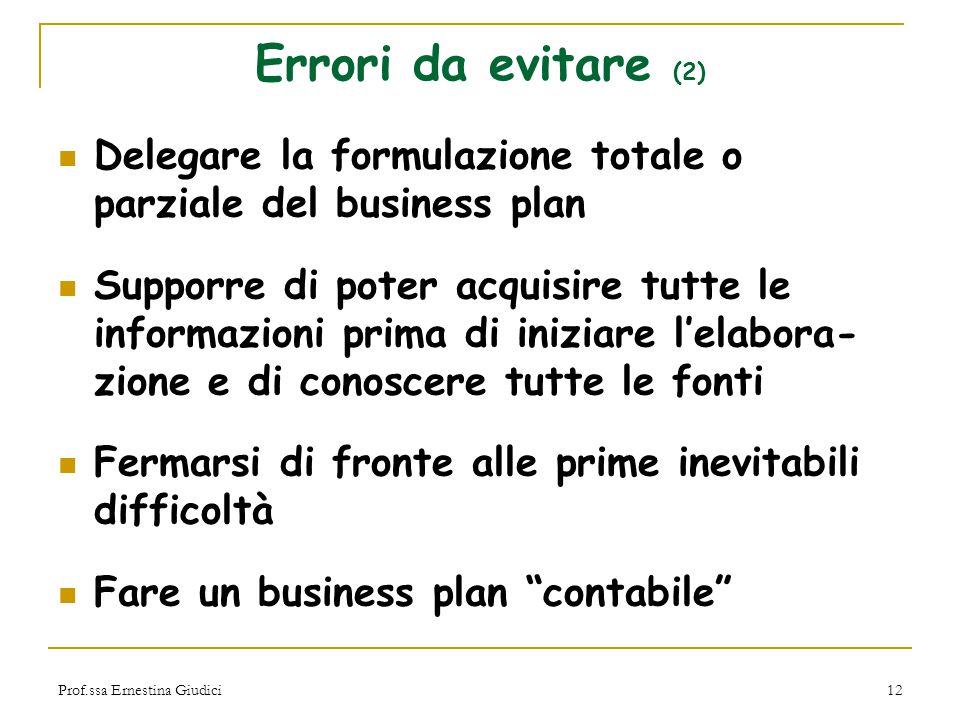 Errori da evitare (2) Delegare la formulazione totale o parziale del business plan.