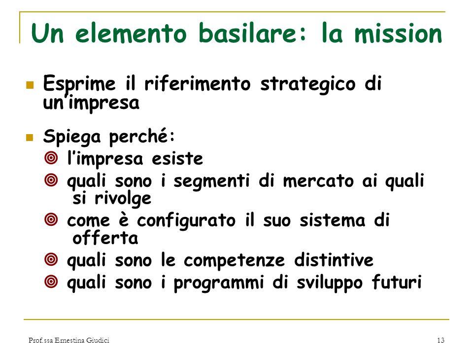 Un elemento basilare: la mission