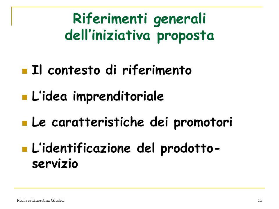 Riferimenti generali dell'iniziativa proposta