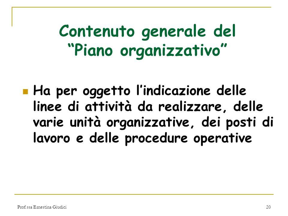 Contenuto generale del Piano organizzativo