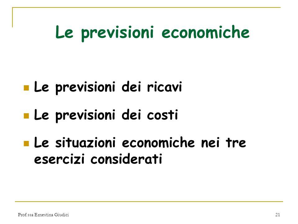 Le previsioni economiche