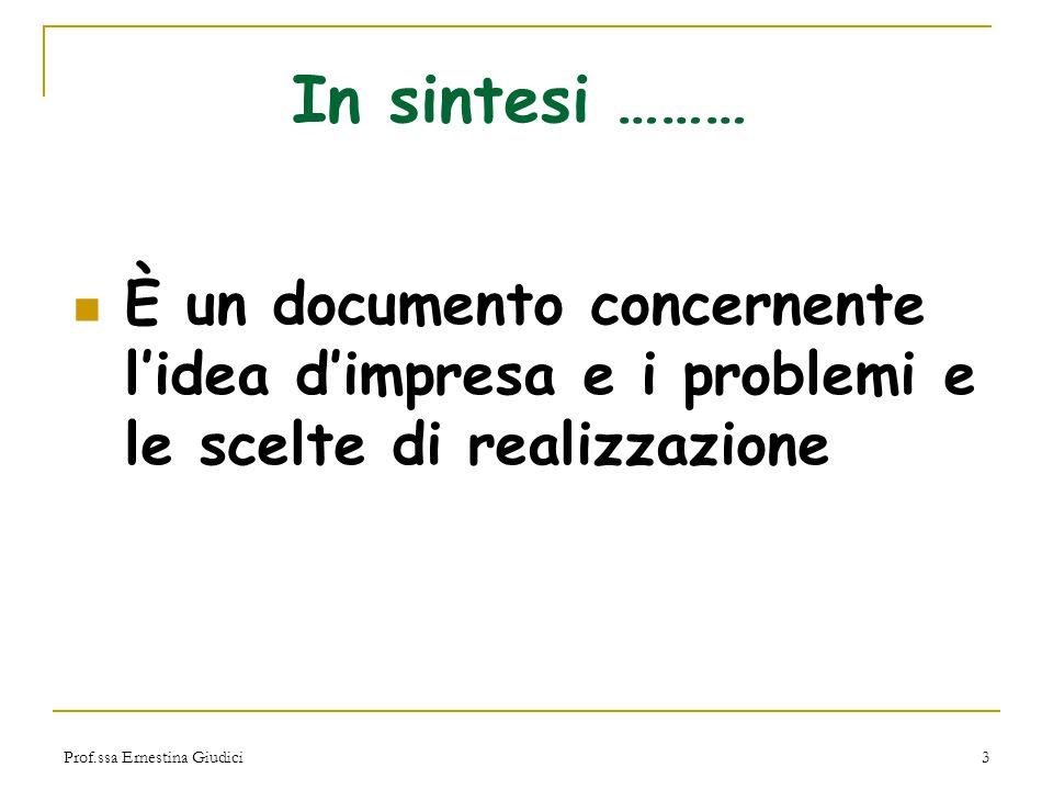 In sintesi ……… È un documento concernente l'idea d'impresa e i problemi e le scelte di realizzazione.