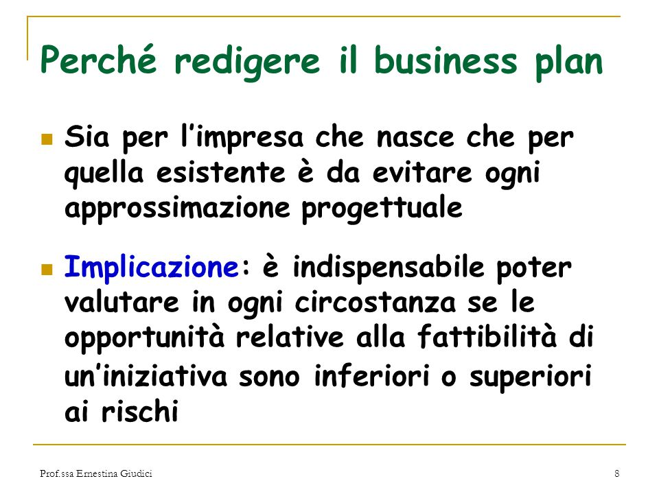 Perché redigere il business plan