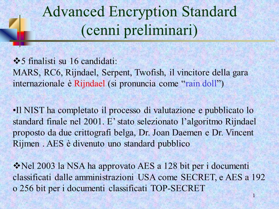 Advanced Encryption Standard (cenni preliminari)