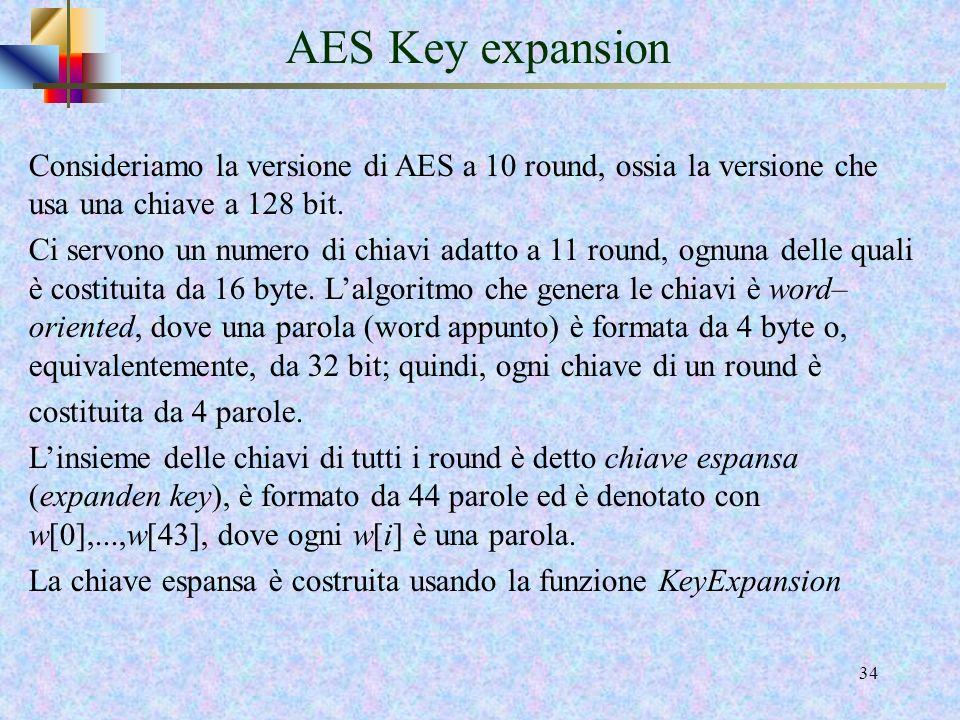 AES Key expansion Consideriamo la versione di AES a 10 round, ossia la versione che usa una chiave a 128 bit.