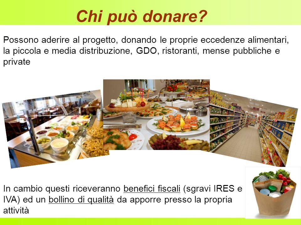 Chi può donare Possono aderire al progetto, donando le proprie eccedenze alimentari,
