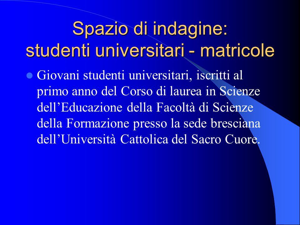 Spazio di indagine: studenti universitari - matricole