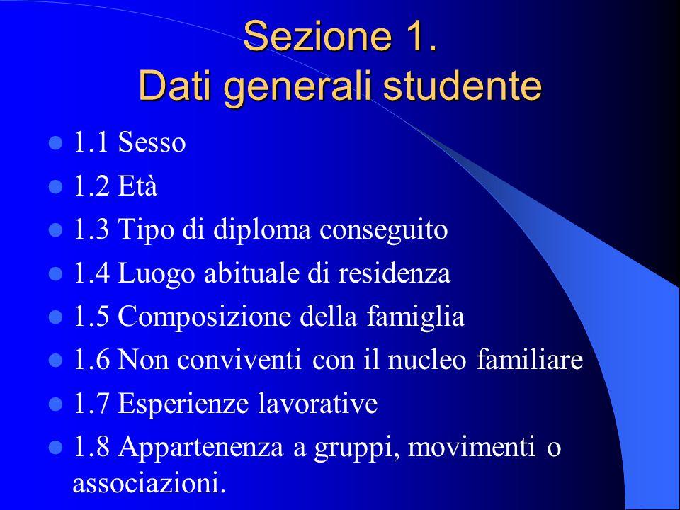 Sezione 1. Dati generali studente