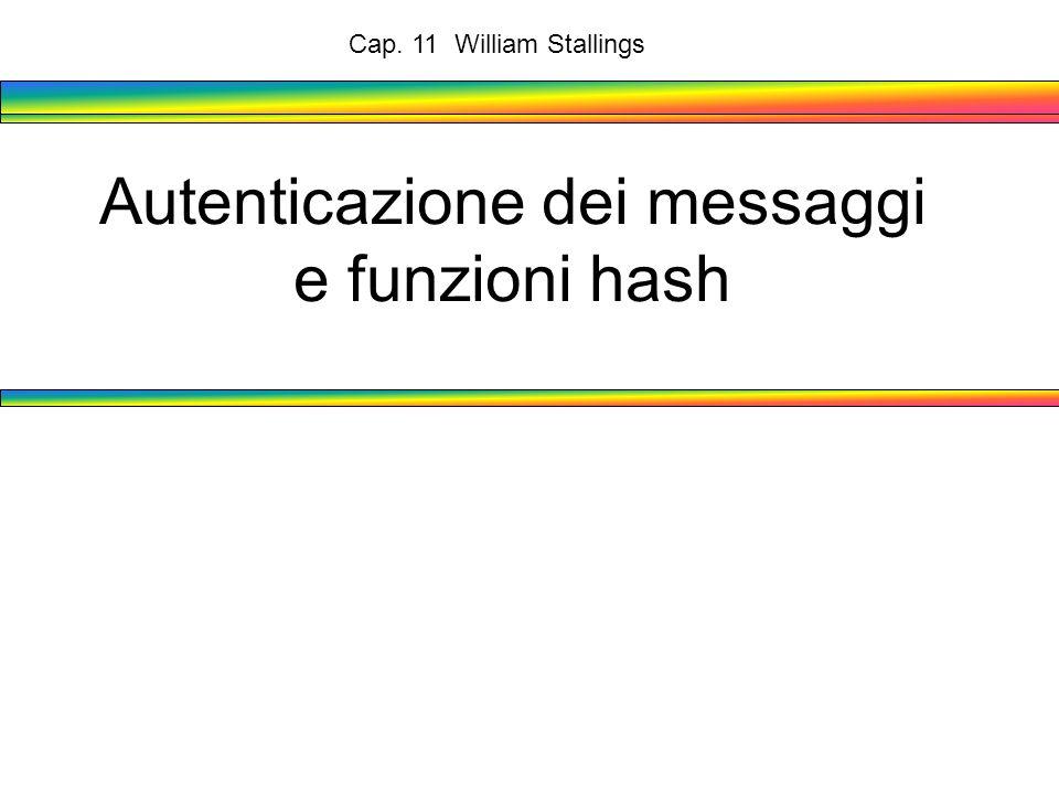 Autenticazione dei messaggi e funzioni hash