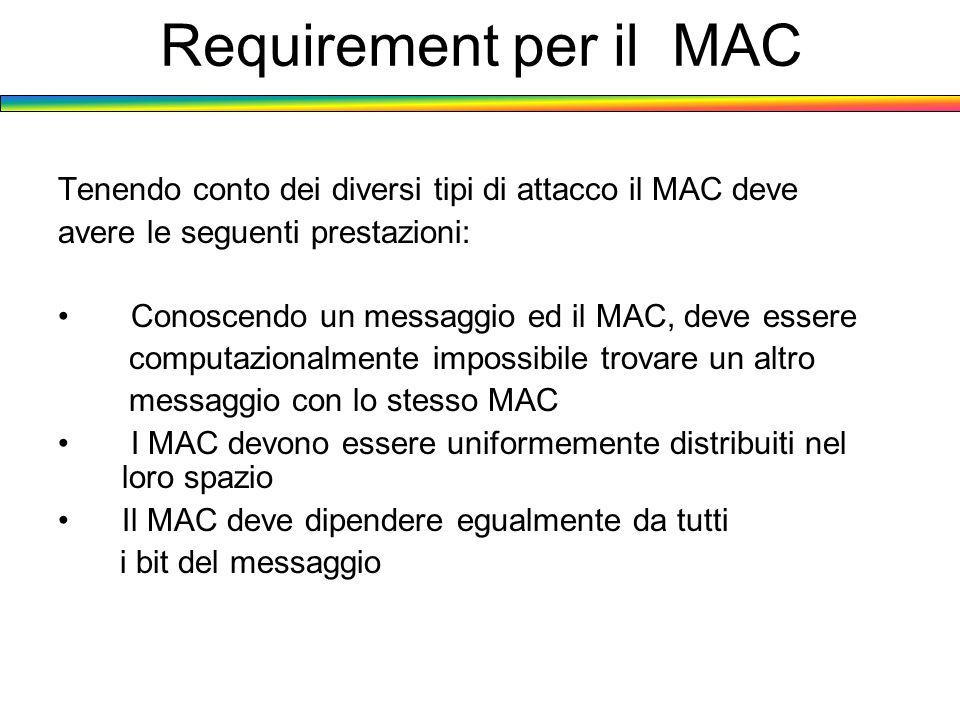 Requirement per il MAC Tenendo conto dei diversi tipi di attacco il MAC deve. avere le seguenti prestazioni: